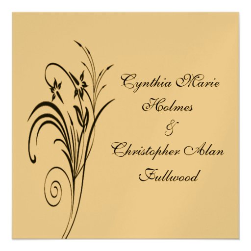 Feines metallisches mit Blumengold u. schwarze Personalisierte Ankündigungskarte