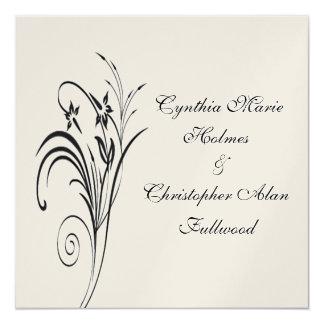 Feines metallisches mit Blumengold u. schwarze Quadratische 13,3 Cm Einladungskarte