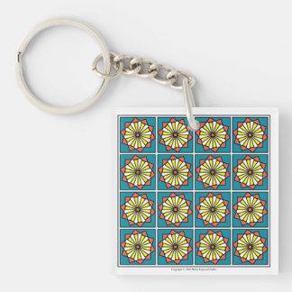 Feld der Gänseblümchen-Schlüsselkette Einseitiger Quadratischer Acryl Schlüsselanhänger