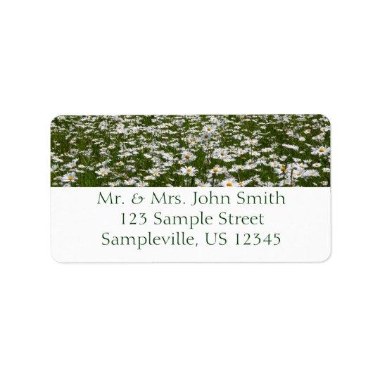 Feld des Gänseblümchen-Natur-Fotos Adressetikett