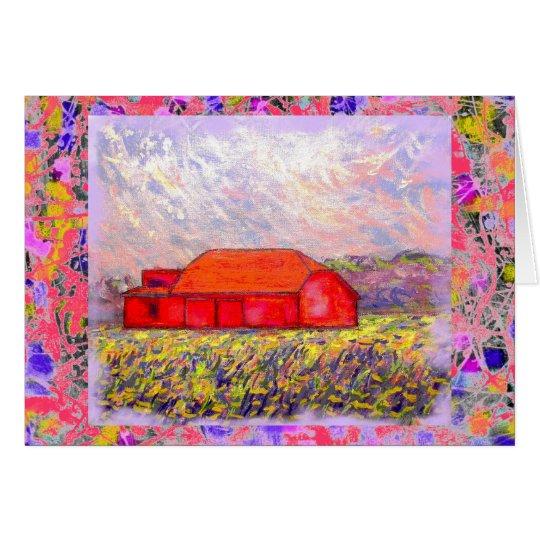 Feld des wilden lila Iris-Tropfens Grußkarte