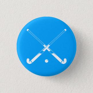 Feld-Hockey-Silhouette-Knopf-Blau Runder Button 2,5 Cm