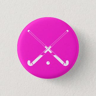 Feld-Hockey-Silhouette-Knopf-Rosa Runder Button 3,2 Cm