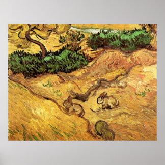 Feld mit zwei Kaninchen durch Vincent van Gogh Poster