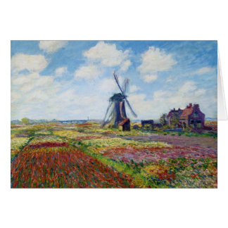 Felder der Tulpe mit der Rijnsburg Windmühle Monet Mitteilungskarte