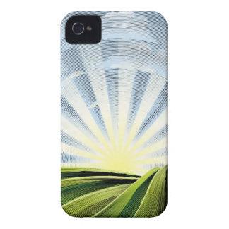 Felder Rolling Hills und Sun gravierte Radierung iPhone 4 Cover