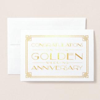 Félicitations d'anniversaire de mariage d'or foil card