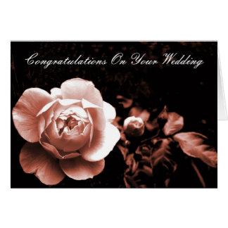 Félicitations roses de pêche sur votre mariage carte de vœux