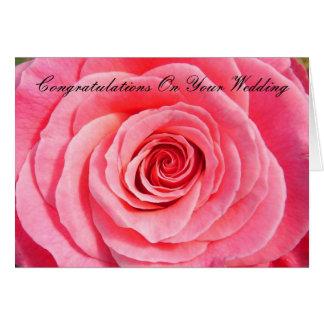 Félicitations sur votre rose nuptiale de mariage carte de vœux