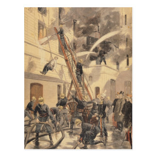 Felix Faure mit den Feuerwehrmännern Postkarte