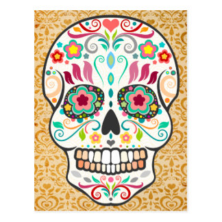 Feliz Muertos - glückliche Zuckerschädel-Postkarte Postkarte