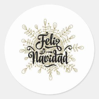 Feliz Navidad spanische Weihnachtsaufkleber Runder Aufkleber