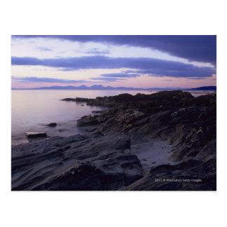 Felsige Küste am Sonnenuntergang in Kintyre, Postkarte