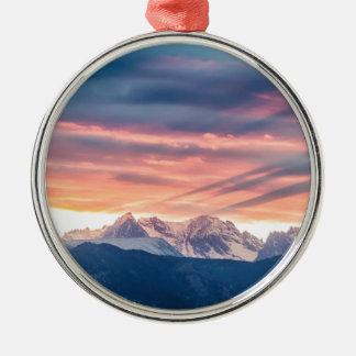 Felsiger Gebirgssonnenuntergang-Wellen Colorados Silbernes Ornament
