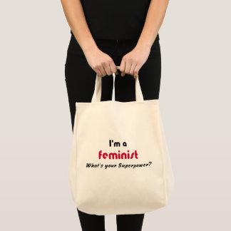 Feministischer SuperPowerrosaslogan Tragetasche