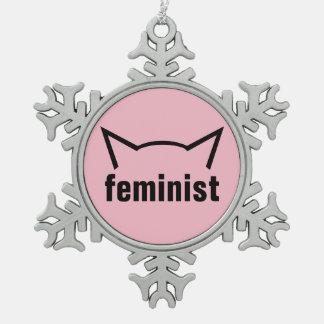 Feministisches Katzepussy-Power-Ohr-Weihnachten Schneeflocken Zinn-Ornament