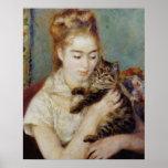 Femme avec un chat par Pierre-Auguste Renoir Poster