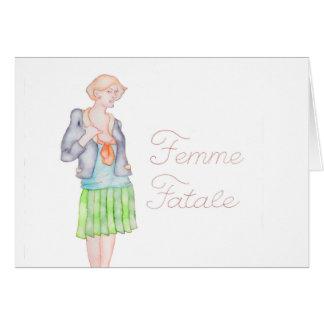 Femme Fatale Grußkarte/Anmerkung Karte