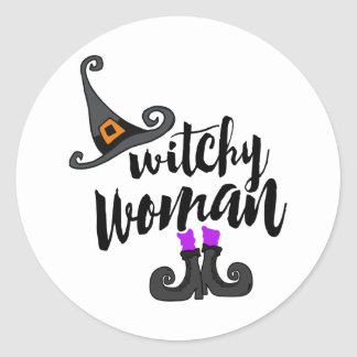 Femme lunatique Halloween de Witchy Sticker Rond