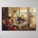 Femmes prenant le thé affiches