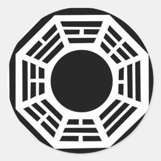 Feng shui Schutz, baguia Spiegel, tai-Chi, Energie Runder Aufkleber