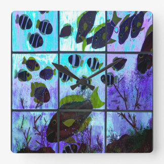 Fenster auf dem Ozean Quadratische Wanduhr