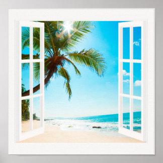 Fenster mit Strand-und Ozean-Sondergrößen! Poster