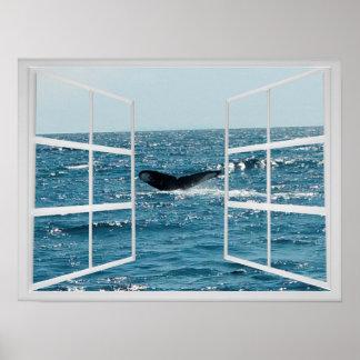 Fenster-Rahmen mit dem Wal-Schwanz Poster