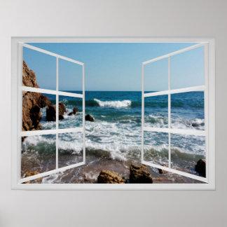 Fenster-Rahmen mit felsiger Ozean-Küste und Wellen Poster