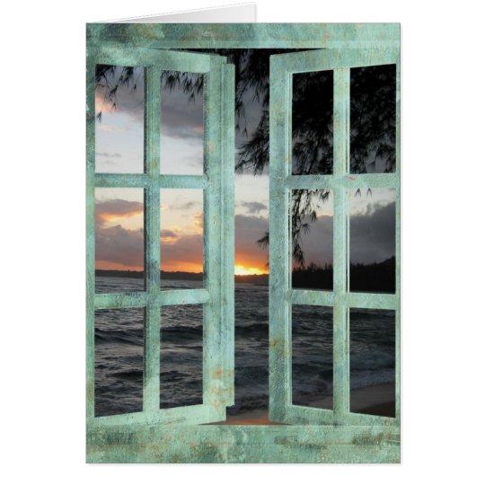 Fenster-Szenen-Kauai-Sonnenuntergang Grußkarte