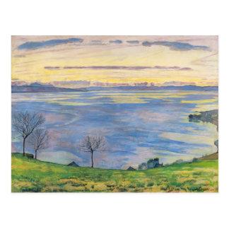 Ferdinand Hodler- Genfersee auf dem Abend Postkarte