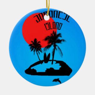 Ferien auf einer japanischen Insel 2 Rundes Keramik Ornament