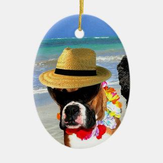 Ferien-Boxerhundeverzierung Ovales Keramik Ornament