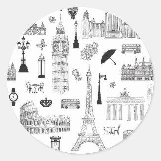 Ferien in Europa-Muster Runder Aufkleber