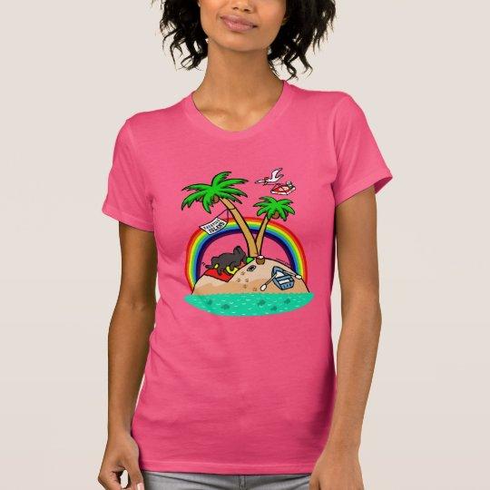 Ferien-Insel-Schwarz-Labrador-T-Shirt T-Shirt