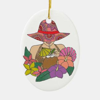 Ferien Ovales Keramik Ornament