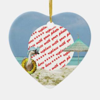 Ferien-Zeit-Gans-Strand-Szenen-Foto-Rahmen Keramik Herz-Ornament