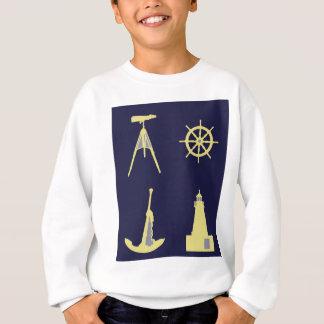 Ferngläser, Anker, der Helm des Schiffs und Sweatshirt