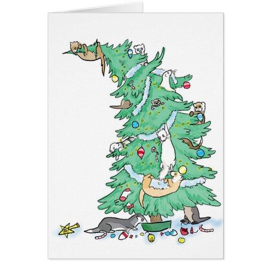Ferrety Weihnachten Grußkarte