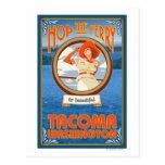 Ferry d'équitation de femme - Tacoma, Washington Carte Postale