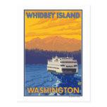 Ferry et montagnes - île de Whidbey, Washington Carte Postale
