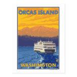 Ferry et montagnes - orques île, Washington Cartes Postales