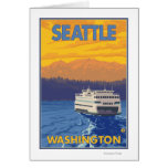Ferry et montagnes - Seattle, Washington Cartes De Vœux