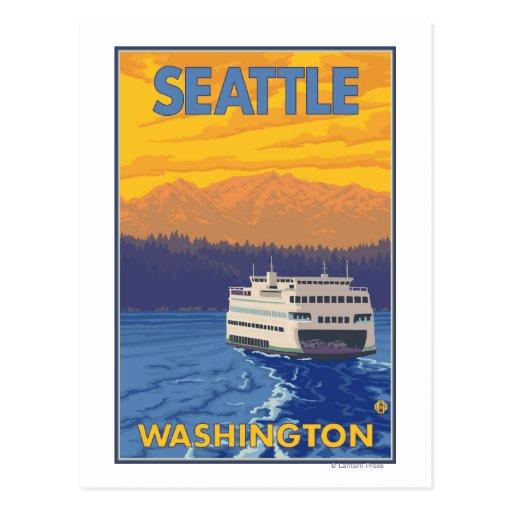 Ferry et montagnes - Seattle, Washington Cartes Postales