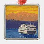 Ferry et montagnes - Seattle, Washington Ornement Carré Argenté