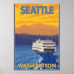 Ferry et montagnes - Seattle, Washington Poster