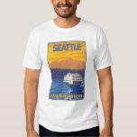 Ferry et montagnes - Seattle, Washington Tee Shirt