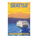 Ferry et montagnes - Seattle, Washington Toile Tendue