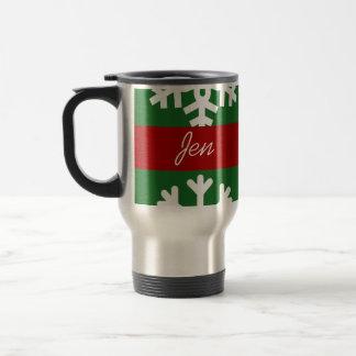 Fertigen Sie grüne Schneeflocke-Reise-Kaffee-Tasse Reisebecher