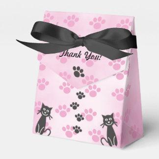Fertigen Sie Katzen-rosa schwarze Tatzen-Drucke Geschenkschachtel